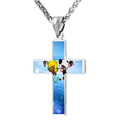 Stainless Gold Pendant with Necklace Cross Design Multiple Stone - 1