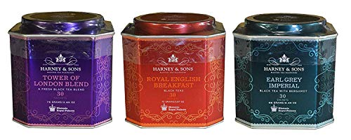 Harney & Sons Historic Royal Palaces Black Tea Collection Set of 3 - Tower of London, Royal English Breakfast, & Earl Grey Imperial