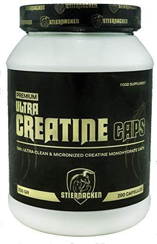 STIERNACKEN - CREATIN Caps | Reines Creatin Monohydrat für mehr Kraft | mehr Ausdauer | Muskelwachstum | Geschmacksneutral | 200 Caps