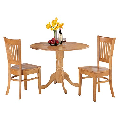 East West Furniture DLVA3-OAK-W 3-Piece Kitchen Nook Dining Table Set, Oak Finish - 2 Piece Oak Desk