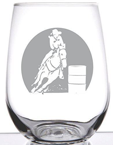Barrel Racer - Rodeo Collection - 17 OZ Professionally Etched Stemless Wine Glass