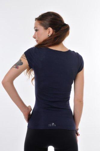 redondo prenda Mujer Cuello Verano hadas con Gris de mariposa de Camisa camisa marino 3elfen Top corta de manga wpq1nU7t0