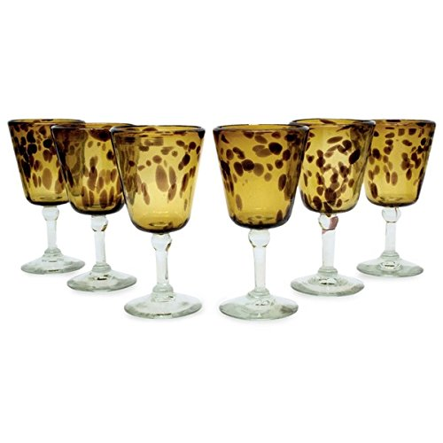 Tortoise Shell Set of Six Barware or Everyday Tableware or Hostess Gift Unique Amber Stemmed Handblown Wine Glasses (Mexico) by Generic