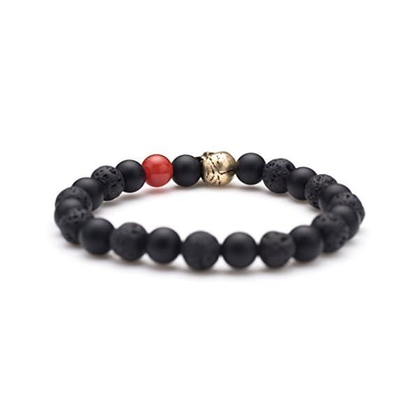 Karseer Skull Charm Black Matte Onyx and Lava Energy Stone Beaded Stretch Bracelet Jewelry Birthday Gift