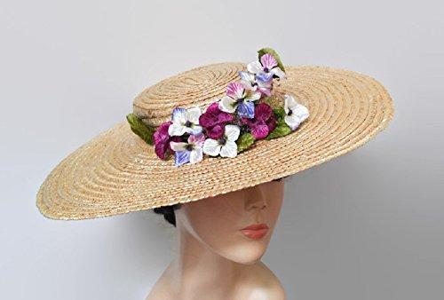 Pamela de paja con flores lila y morado f31f4e284bf