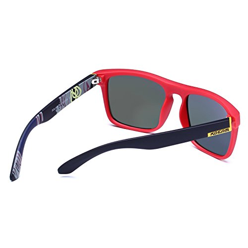 Lens hombre Frame sol Mirror Gafas Black Red para de KDEAM qawUfyIza