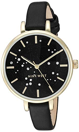 Nine West Women's NW/2210BKBK Crystal Accented Gold-Tone and Black Strap Watch