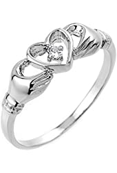 High Polish 10k White Gold Diamond Solitaire Claddagh Ring