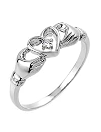 High Polish 14k White Gold Diamond Solitaire Claddagh Ring