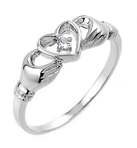 High Polish 10k White Gold Diamond Solitaire Claddagh Ring (Size 6.5)
