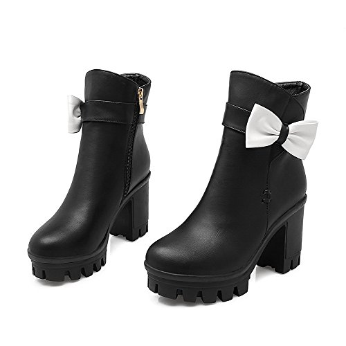 High Heels Women's Solid Top Round Low Black Closed Allhqfashion Boots Zipper Toe adTqzwTx