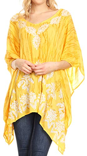 - Sakkas 1802 - Alizia Lightweight Embroidery Batik Top Tunic Blouse Caftan Cover up Poncho - Beige - OS