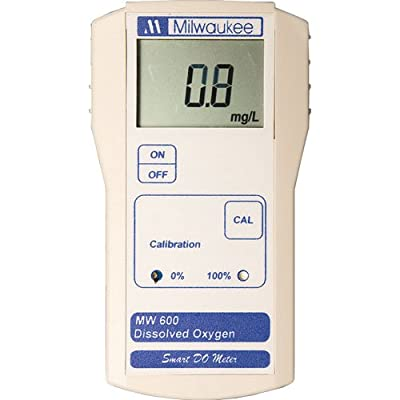 Milwaukee MW600 LED Economy Portable Dissolved Oxygen Meter with 2 Point Manual Calibration, 0.0 - 19.0 mg/L, 0.1 mg/L Resolution, +/-1.5 percent Accuracy, 100 Percent Saturation Range