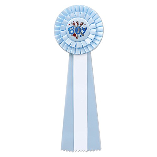 Baby Shower Wearables For Mom (Beistle RD18 It's a Boy Deluxe Rosette, 41/2 by)