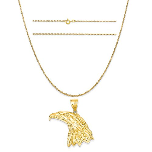 14k Yellow Gold Eagle Head Pendant on a 14K Yellow