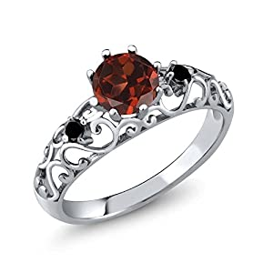 Sterling Silver Genuine Red Garnet & Black Diamond Women/'s Ring (1.11 cttw, Size 5)