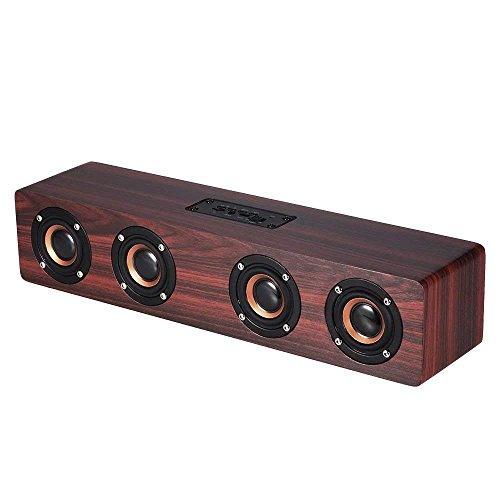 Hulorry Wireless Bluetooth Speaker,Wooden High Definition,Intelligent,Handsfree,TF Card,Aux Speaker Stereo,Music Subwoofer for Home Travel Beach Shower Splashproof