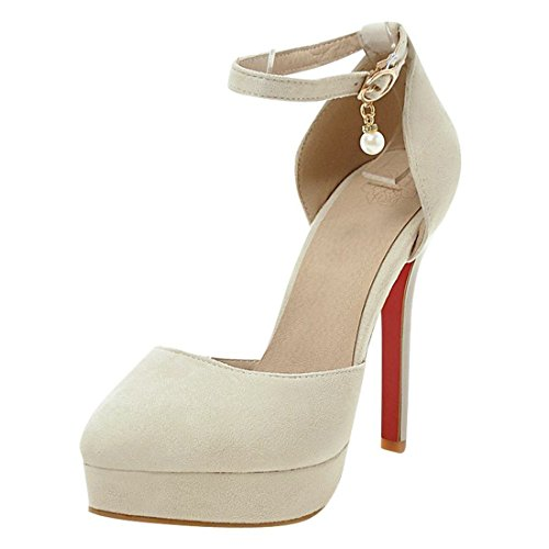 YE Womens High Stiletto Heels Platform Mary Janes Pumps with Ankle Strap Close Toe Sandals Summer Shoes Beige