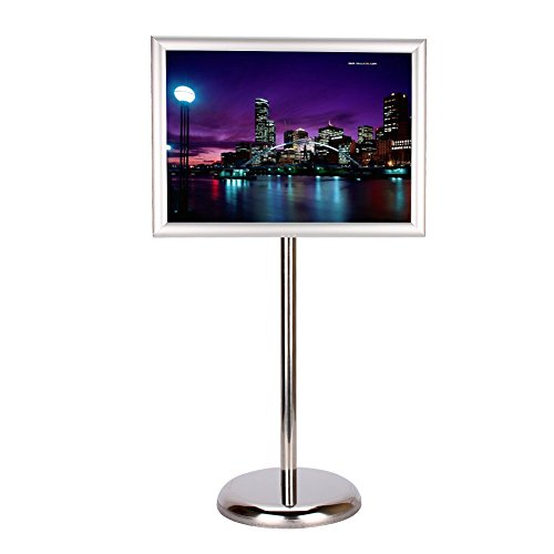 Adjustable Poster Display Stand,A3 Square Edge Steel Pedestal Sign Stand Floor-Standing Menu Holder Snap Frame for 11.7 X 16.5 Inches Graphics (Pedestal Poster Frame)