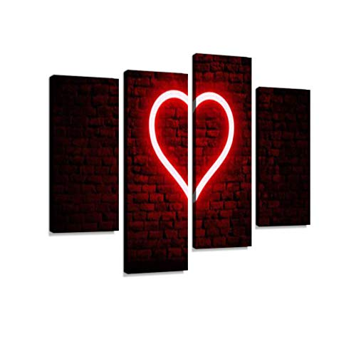 Neon Heart on Brick Wall Canvas Wall Art Hanging Paintings Modern Artwork Abstract Picture Prints Home Decoration Gift Unique Designed Framed 4 Panel