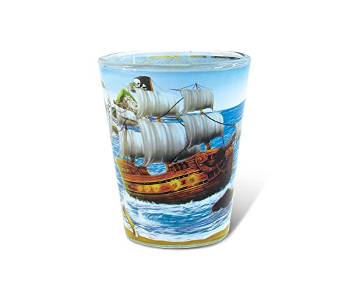 - Puzzled Pirate Full Print Shot Glass 1.70 Oz Quality Glassware for Bar Collection Novelty Liquor/Spirits Drinking Glass - Marine Life Beach Character Nautical Theme