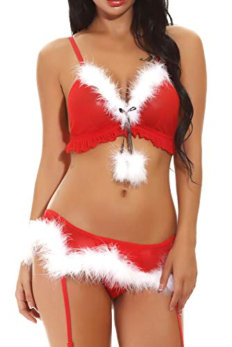 Women's Christmas Lingerie Santa Outfit Bra and Panty Set with Garters Red2 L