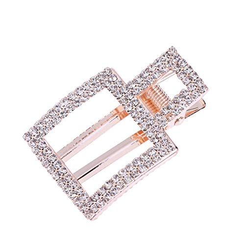 TENDYCOCO Crystal Hair Clips Hollow Square Hairpins Bling Bobby Pins Barrette for Women Girls Wedding Bridal Hair Accessories
