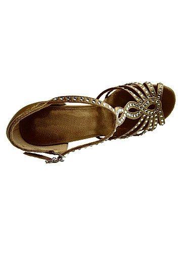 ShangYi Chaussures de danse ( Marron ) Talon - Non Personnalisables - Talon ) Aiguille - Satin - Latine / Salsa / Samba / Chaussures de Swing Braun bb4eea