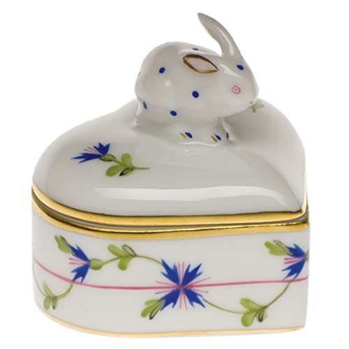 - Herend Blue Garland Heart Bunny Box