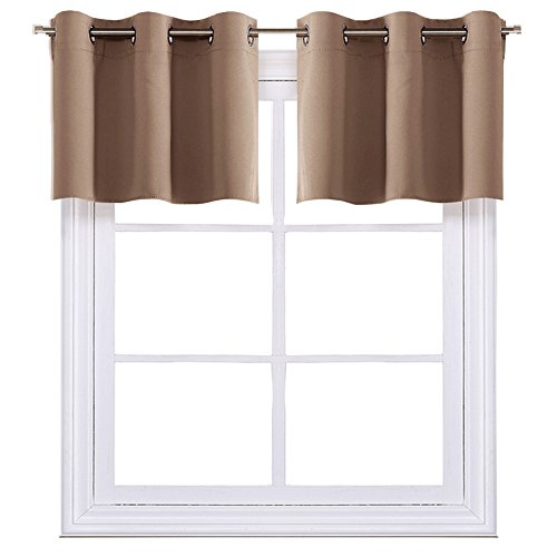 (NICETOWN Short Curtains Blackout Nursery Valance - Thermal Insulated Light Reducing Drapes for Baby's Bedroom (One Pair, 42W by 18L + 1.2 Inches Header, Cappuccino))