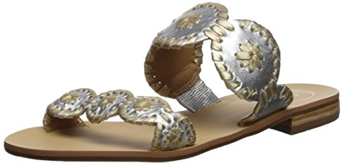 Jack Rogers Women's Lauren Slide Sandal, Silver/Gold, 9 Medium (Outdoor Jack)