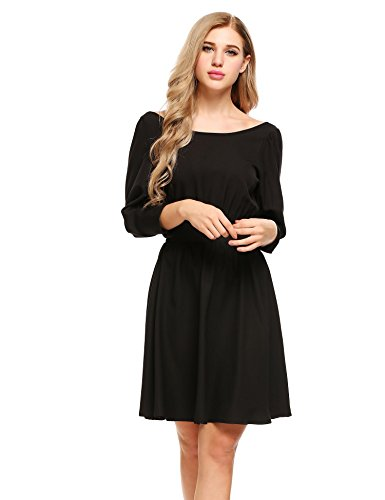 Sexyfree Sexy Open Back 3/4 Sleeve Pleated Swing A-Line Cocktail Dress(Black,Large) ()