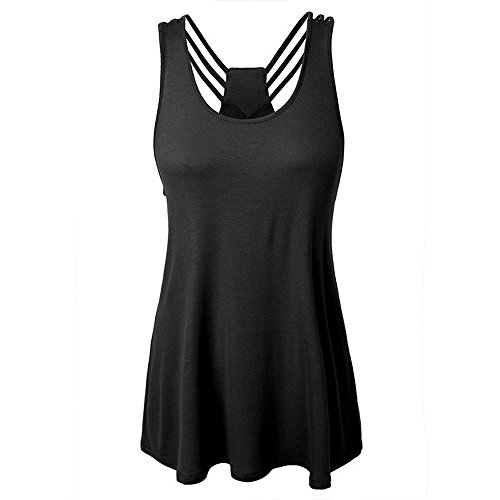 WEUIE Women Blouse Hot Sale! Women Bandages Sleeveless Vest Top High Low Tank Top Notes Strappy Tank Tops ()