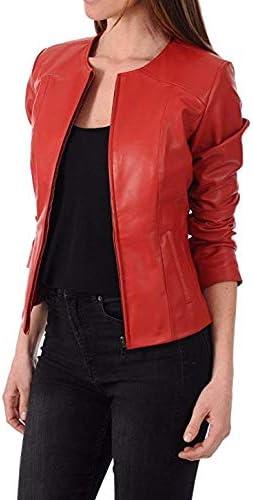 Azrah Traders Womens Lambskin Leather New Bomber Biker Jacket