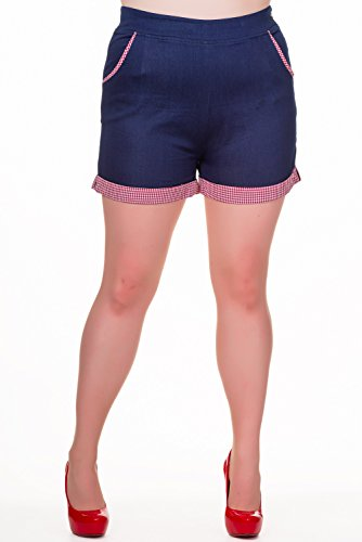 Banned Blueberry Hills Plus Size Shorts - Sizes 2XL-4XL - - Gingham Denim Short