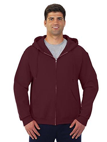(Jerzees Adult Super Sweats® Full-Zip Blended Hooded Sweatshirt - Maroon -)