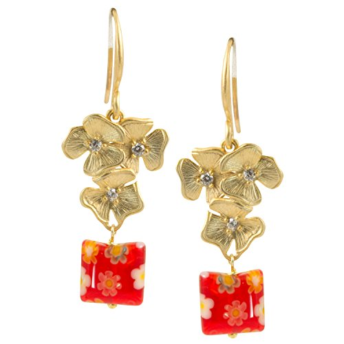 Gold Plated Flower with Red Millefiori Murano Square Glass Bead Dangle Earrings - 0670 -