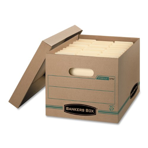 STOR/FILE Storage Boxes, Standard Set-Up, Lift-off Lid, 100% Recycled, Letter/Legal, Case of 12 () - BANKERS BOX 1277601