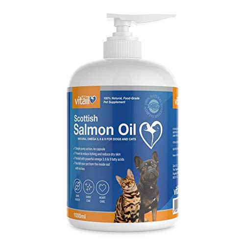Zipvit Salmon Oil for Dogs 1 Litre, 100% Pure Scottish Salmon Oil. Natural Omega 3, 6 & 9 Supplement for Dogs and Cats…