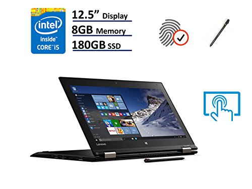 Lenovo Thinkpad Yoga 260 2-in-1 Business Laptop - 12.5'' IPS Touchscreen (1366x768), Intel Core i5-6200U, 180GB SSD Opal2, 8GB DDR4, Backlit Keyboard, Windows 10 Professional 64-bit - Black by Lenovo