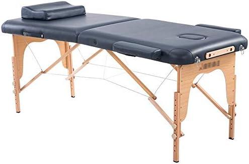 美容折りたたみベッド マッサージテーブル、折りたたみスパトリートメントには、木製の足とヘッドレストマッサージ表と美容ベッドを持ち上げることができます 家庭用マッサージベッド (Color : Dark Blue)