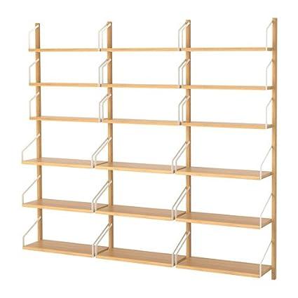 amazon com ikea wall mounted shelf combination bamboo size 76x9 7 rh amazon com tv wall mount shelves ikea wall mount shelf ikea
