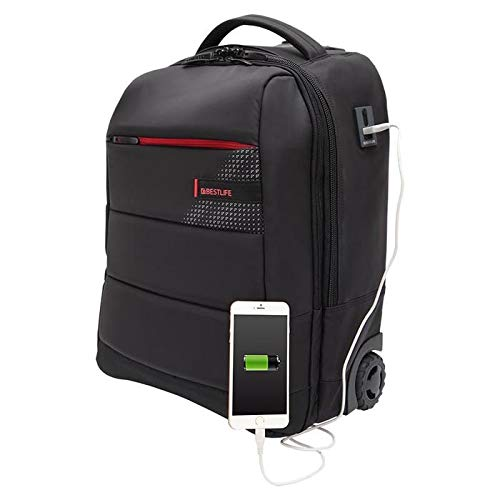 Black and Red Best Trolley-Backpack for 15.6/″ Notebook Trolley para port/átil 43 Centimeters 29 Negro