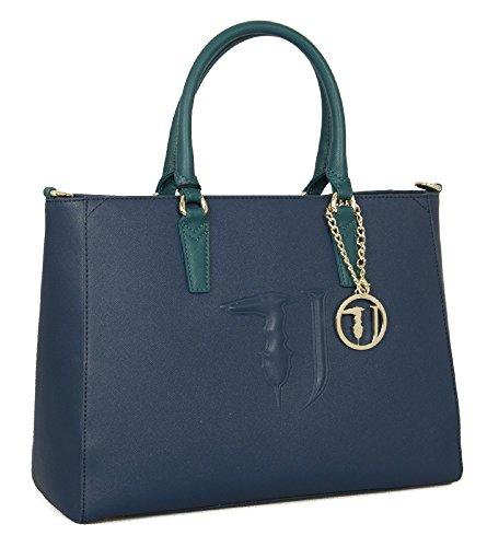 Trussardi Jeans Ischia Ecoleather Borsa a mano blu