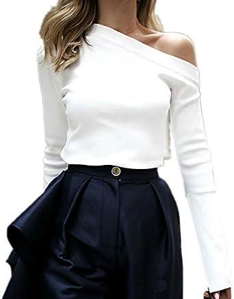 Loalirando Camisa de Mujer Camiseta Blanca sin Tirantes Manga Larga Sexy Elegante Bianco L: Amazon.es: Ropa y accesorios