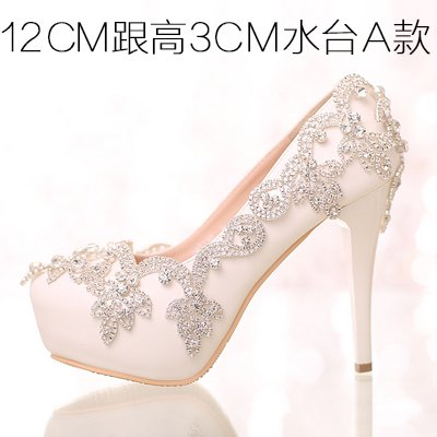 Bride Crystal Crystal Wedding Party Diamond Shoes High Shoes Sandals Women VIVIOO Wristband Prom White 5 Heels Waterproof For 5 Colorful Shoes Heel 12Cm qSPfTzw