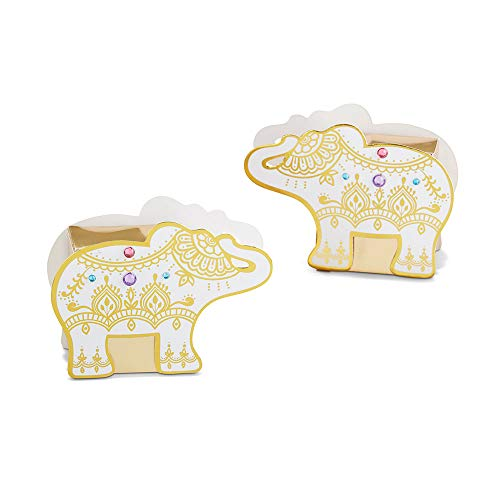 Kate Aspen 28426NA Lucky Golden Elephant (Set of 12) Favor Box Set 0 White & gold with pink, blue & purple rhinestones ()