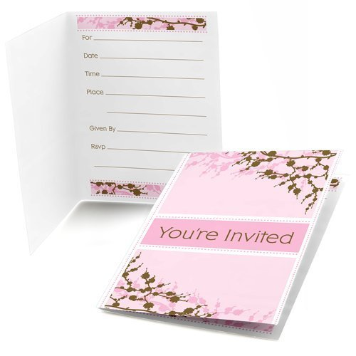 Cherry Blossom - Fill-In Baby, Bridal Shower or Birthday Party Invitations (8 count)