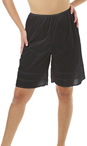 Underworks Snip-A-Length Pettipants Culotte Slip Bloomers Split Skirt Large-Black