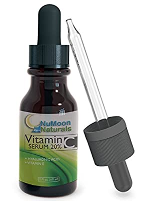 Vitamin C Serums 2 Oz by NuMoon Naturals | Natural Vitamin C Hyaluronic Acid and Vitamin E | Best Anti Aging Hyperpigmentation Facial Treatment
